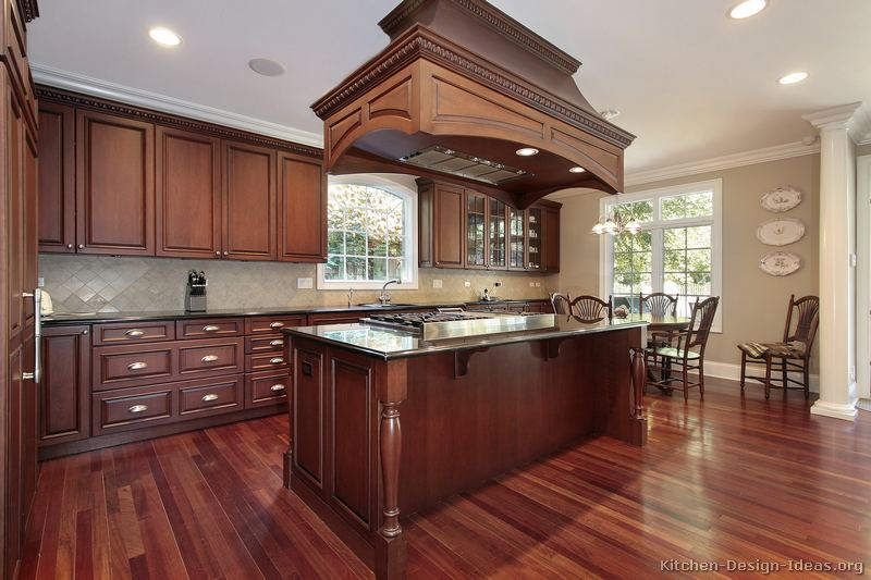 Pictures of kitchens traditional dark wood kitchens for Cherrywood kitchen designs