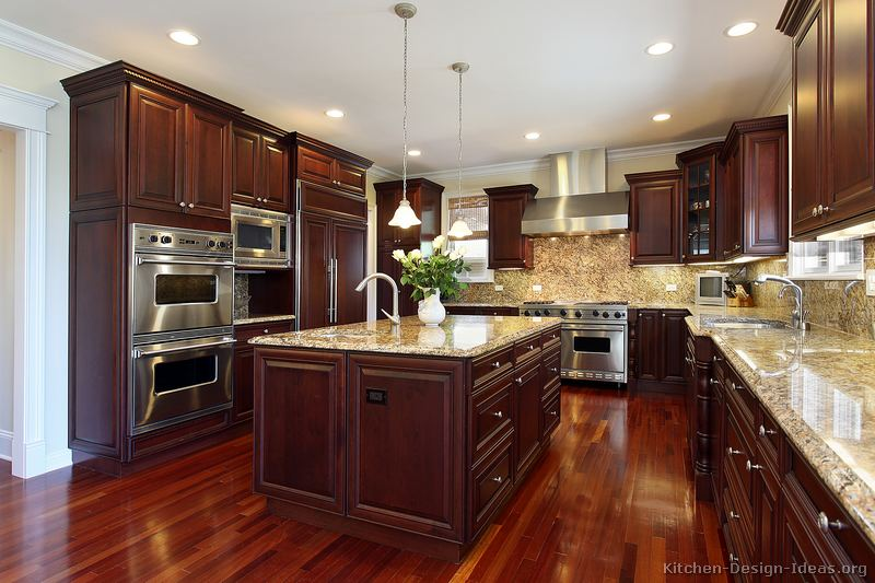 Pictures of kitchens traditional dark wood kitchens for Kitchen cabinet wood colors