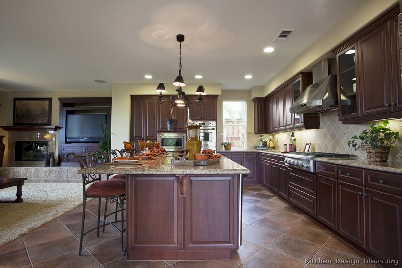 Traditional Open Kitchen Designs Pictures Of Kitchens Dark Wood Cherry