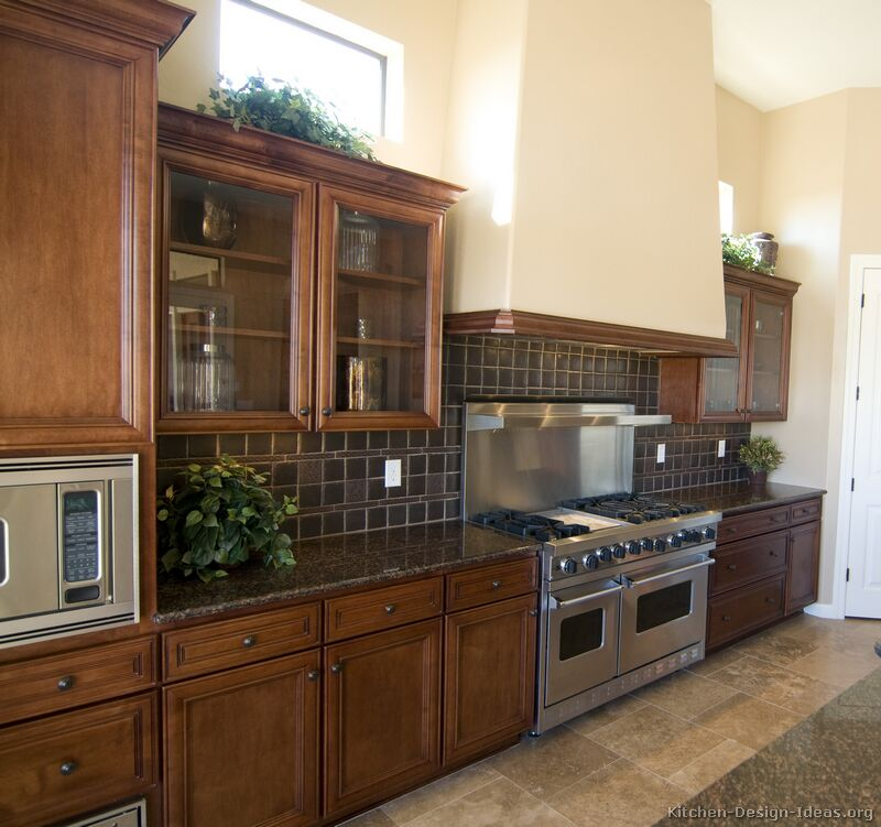 Pictures of kitchens traditional dark wood kitchens for Kitchen ideas brown cabinets