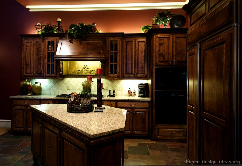Pictures of kitchens with dark cabinets and granite hot for Dark wood kitchen ideas