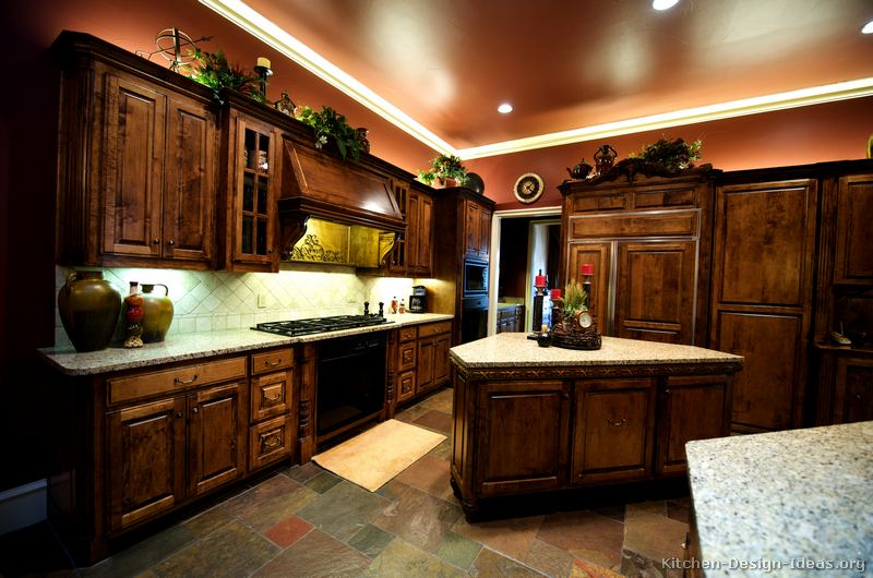 Traditional Dark Wood Golden Kitchen