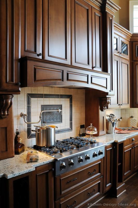 Gourmet kitchen design ideas for Dark wood kitchen ideas
