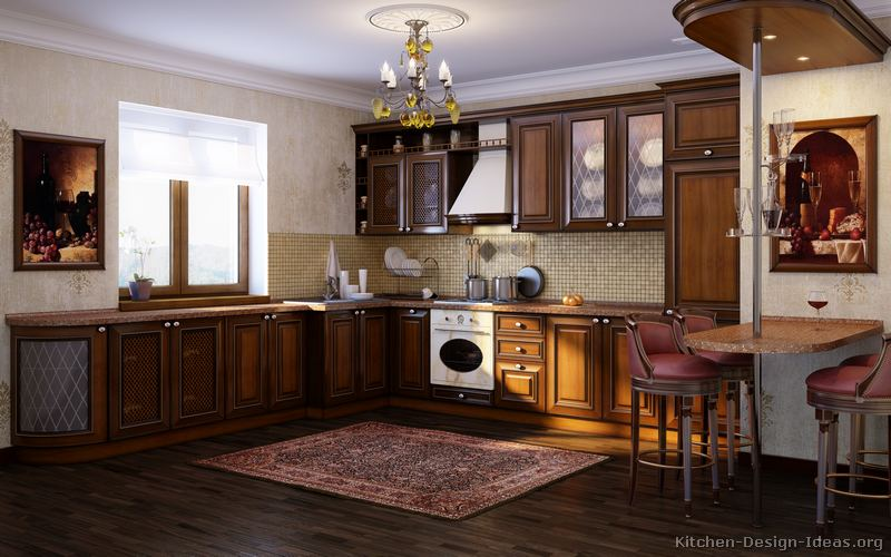 13, Traditional Dark Wood Golden Kitchen