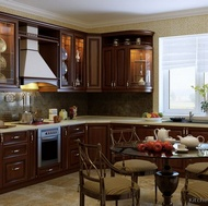 Traditional Dark Wood-Golden Kitchen