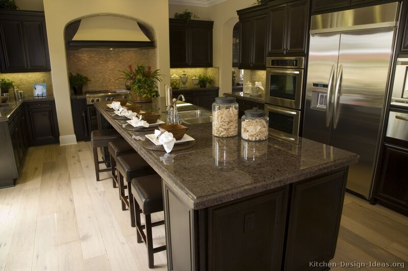 Pictures of kitchens traditional dark espresso kitchen for Traditional dark kitchen cabinets
