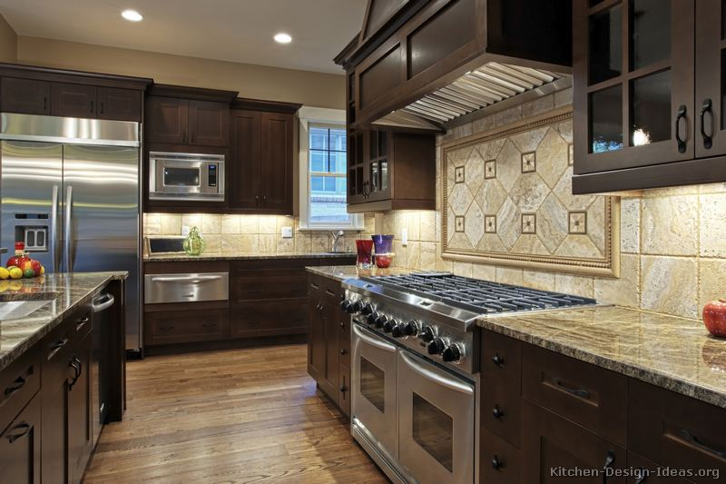 Gourmet kitchen design ideas for Traditional dark kitchen cabinets