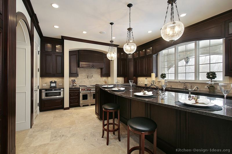 Pictures of kitchens traditional dark wood nearly for Dark cabinet kitchen ideas