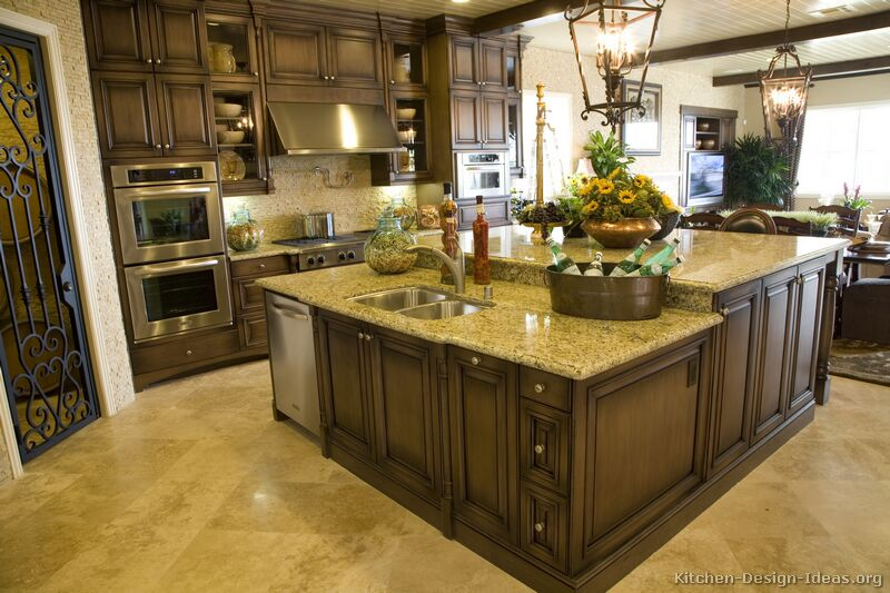 Pictures of kitchens traditional dark wood walnut color kitchen 1 - Kitchen island color ideas ...