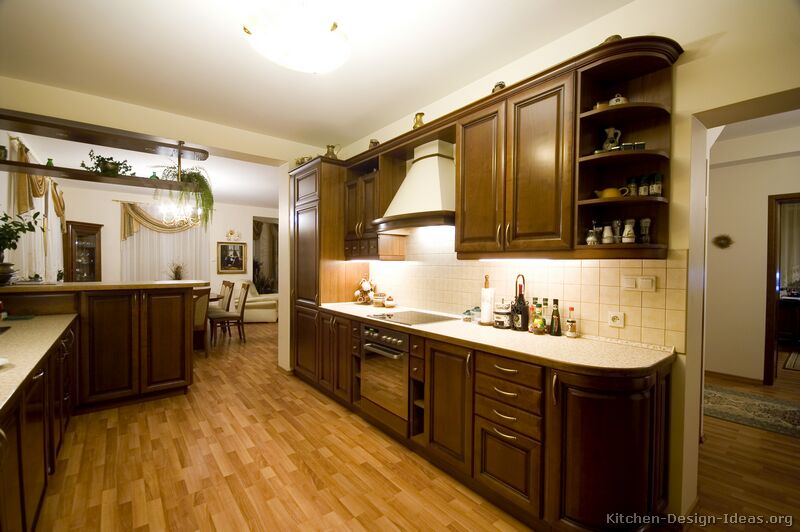 of Kitchens Traditional Dark Wood Walnut Color Kitchen 11