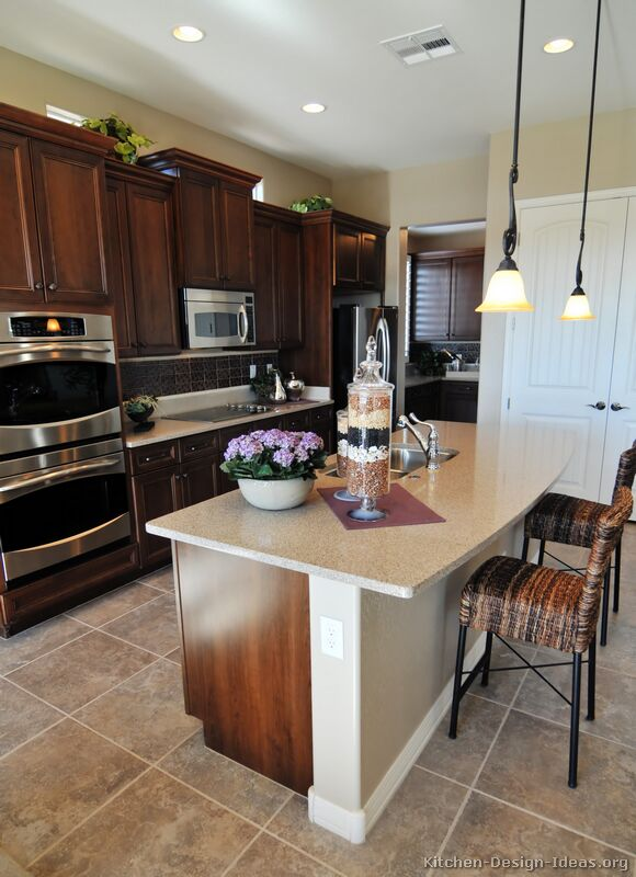 Pictures Of Kitchens Traditional Dark Wood Walnut Color Kitchen 14