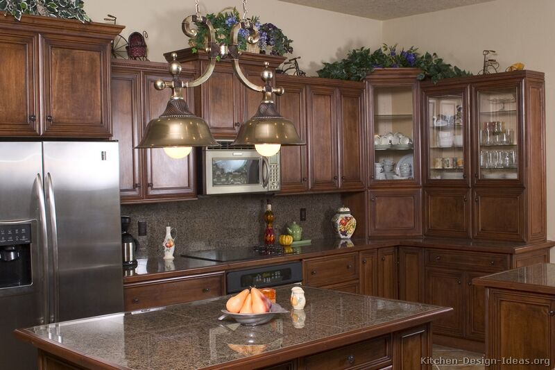 Pictures of Kitchens  Traditional  Dark Wood Kitchens, Walnut Color