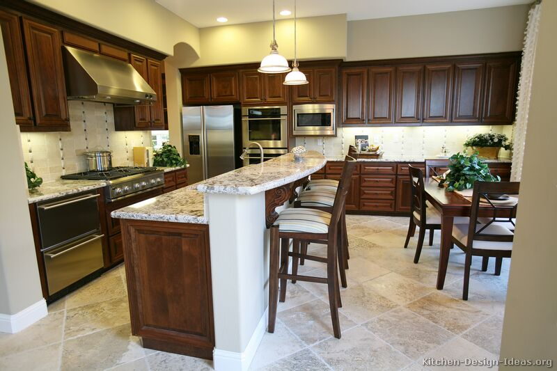 25 Traditional Dark Wood Walnut Kitchen
