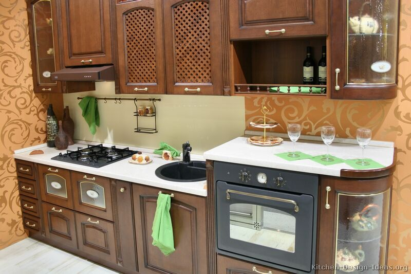 Pictures of kitchens traditional dark wood kitchens for Small dark kitchen ideas