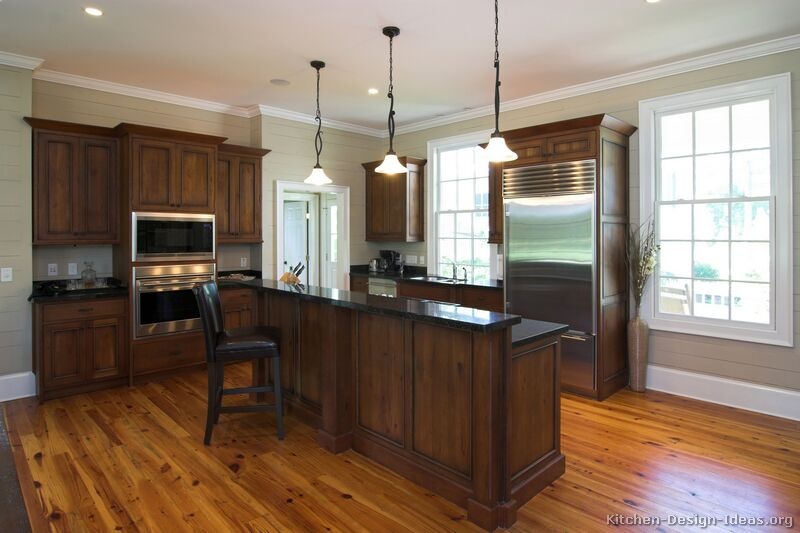 Pictures of kitchens traditional dark wood kitchens for Wood floors in kitchen