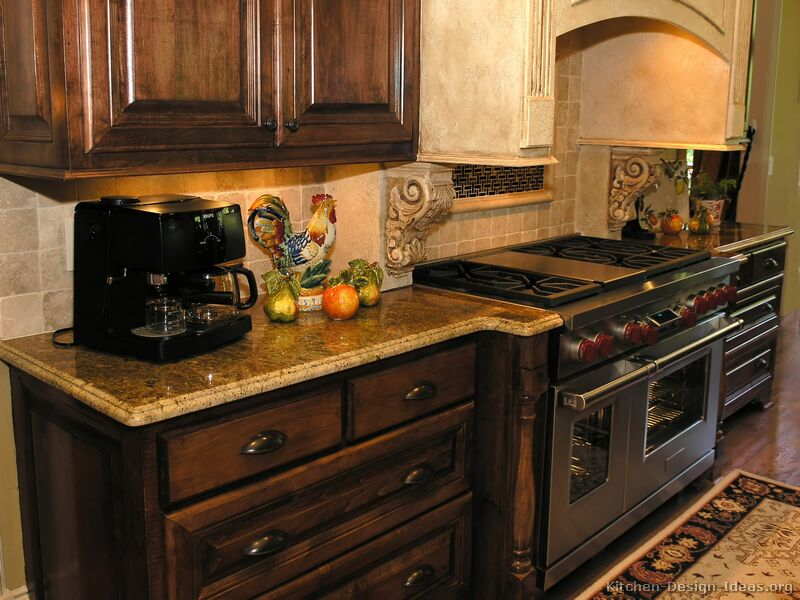 Pictures of kitchens traditional dark wood kitchens walnut color page 2 - Kitchen colors dark cabinets ...