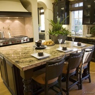 Traditional Dark Wood-Walnut Kitchen