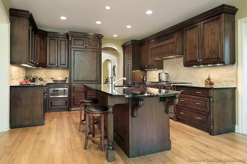 Traditional kitchen cabinets photos design ideas for Dark wood kitchen ideas