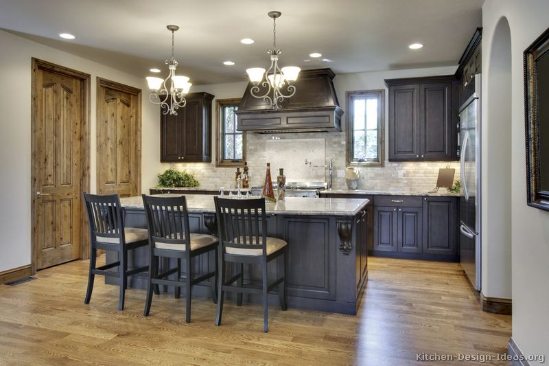 pictures of kitchens - traditional - dark wood, walnut color