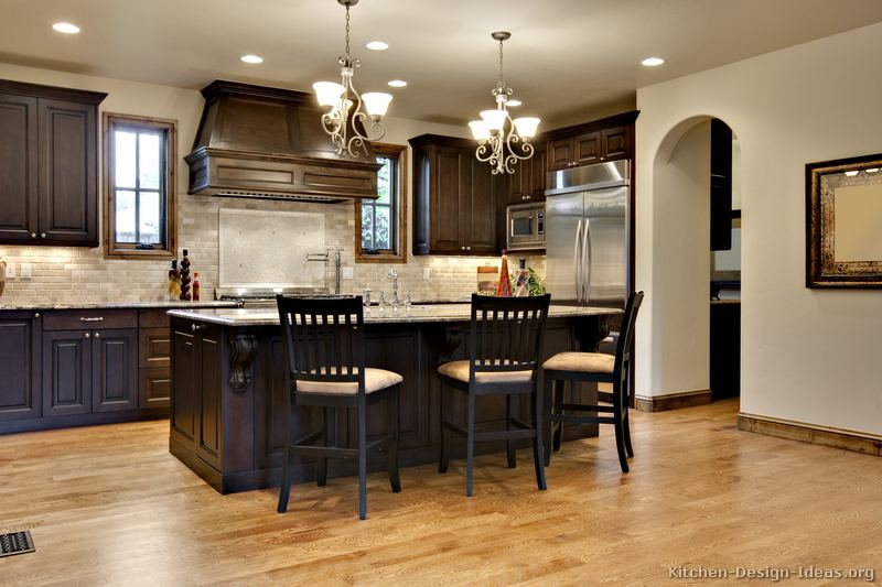 Pictures of kitchens traditional dark wood walnut for Dark wood cabinets small kitchen