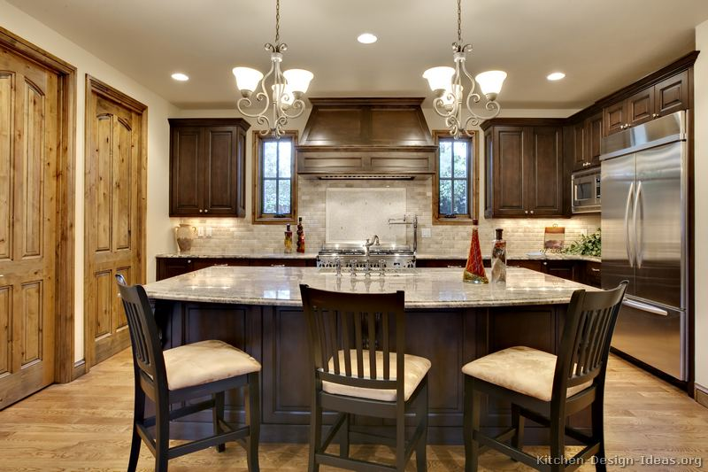 kitchen cabinets traditional dark wood walnut color 064 s37900465x2 wood hood island luxury Creative Dark Kitchens Lighting Ideas