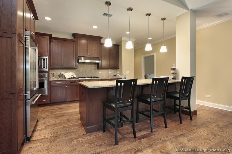Pictures Of Kitchens Traditional Dark Wood Walnut Color Kitchen 65