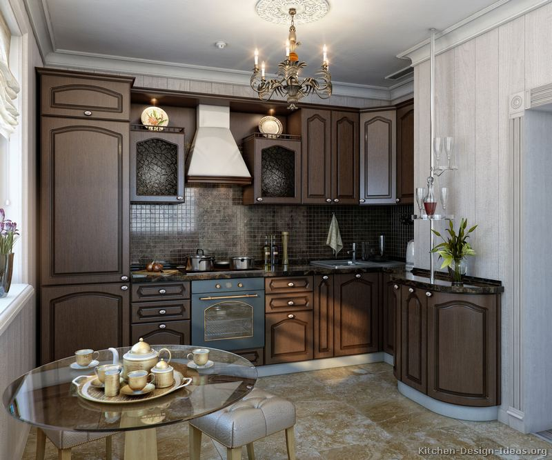 Pictures of kitchens traditional dark wood kitchens for Dark wood cabinets small kitchen