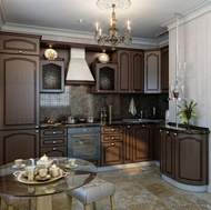 Traditional Dark Wood-Walnut Kitchen