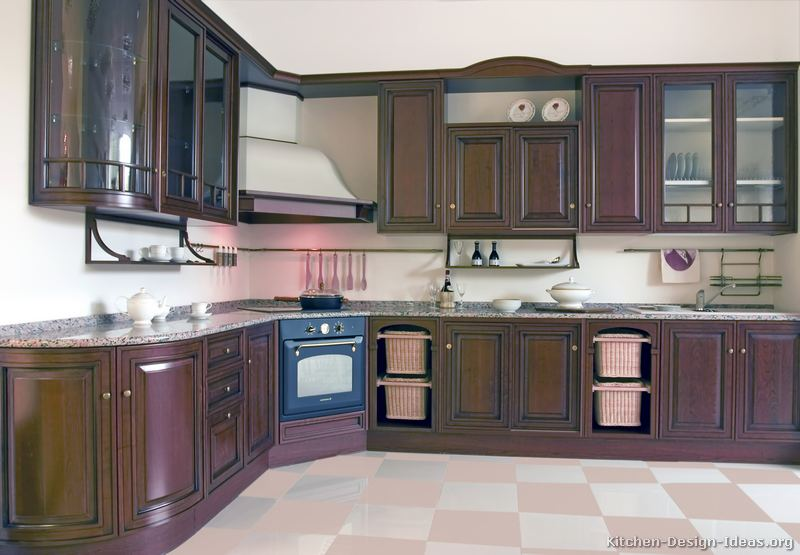 Kitchen cabinets dark walnut for Angled kitchen cabinets