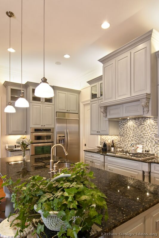 Pictures Of Kitchens Traditional Gray Kitchen Cabinets Kitchen - Traditional grey kitchen cabinets