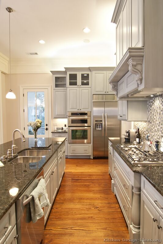 Pictures of kitchens traditional gray kitchen cabinets for Grey white kitchen designs