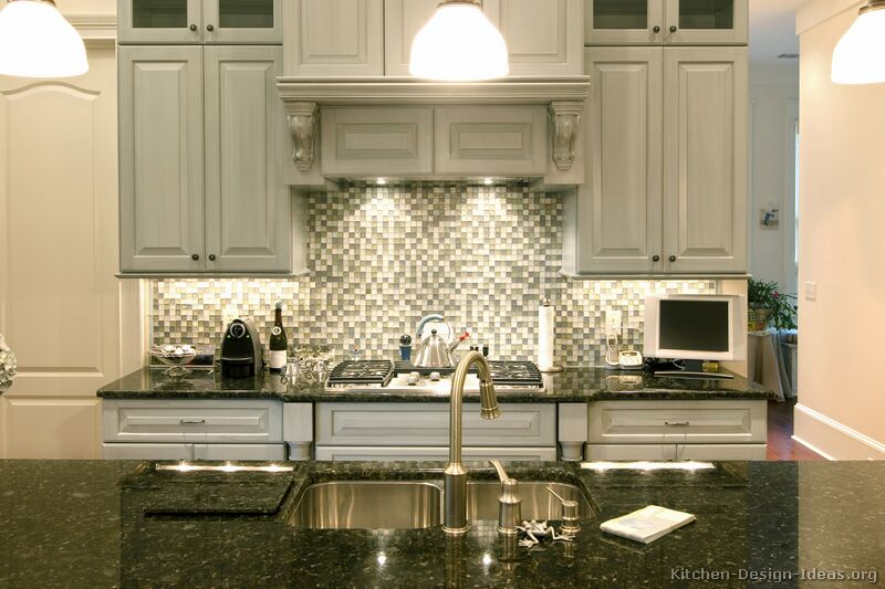 Pictures Of Kitchens Traditional Gray Kitchen Cabinets Kitchen - Backsplash for gray kitchen cabinets