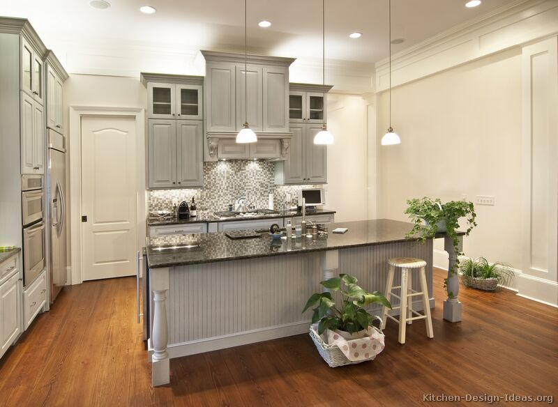 Pictures of kitchens traditional gray kitchen cabinets for Grey wood kitchen cabinets