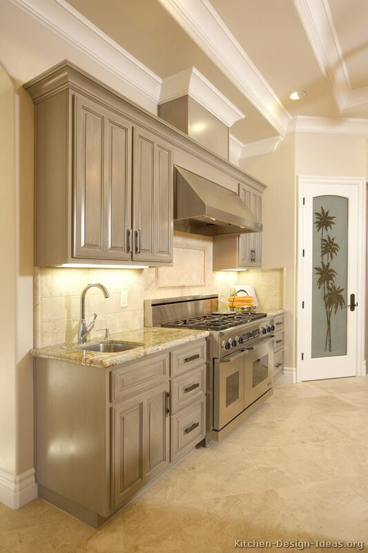Pictures of kitchens traditional gray kitchen cabinets for Kitchen cabinets gray