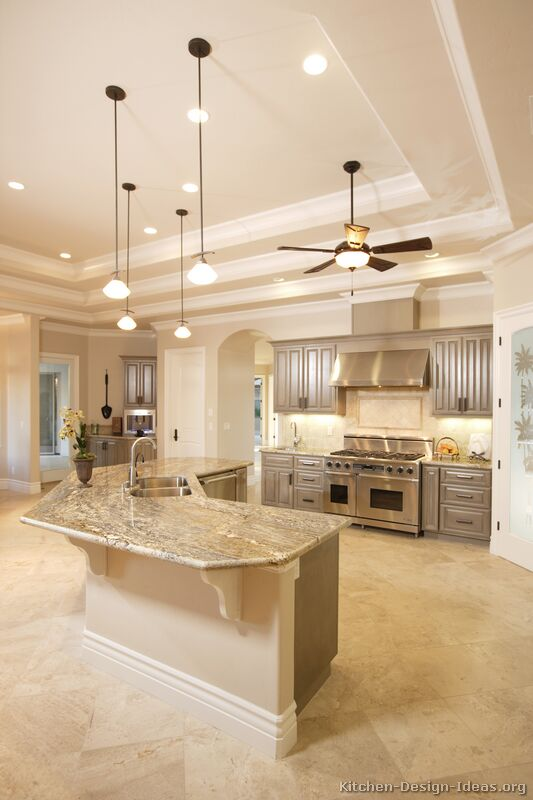 Pictures of kitchens traditional gray kitchen cabinets for Huge kitchen designs
