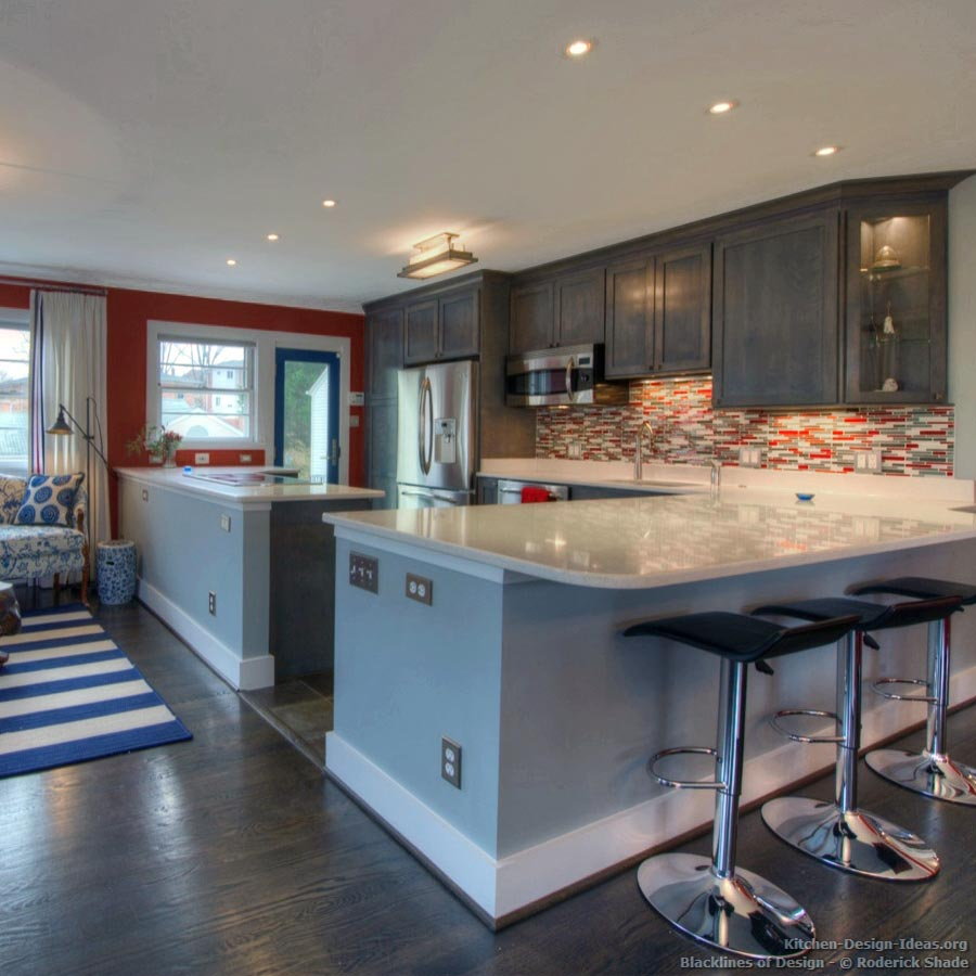 gray kitchen cabinets with red walls