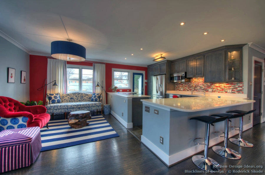 Gray kitchen with red, white, and blue accents designed by Roderick
