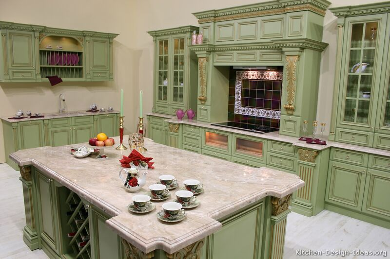 Pictures of kitchens traditional green kitchen cabinets for Green kitchen cabinets