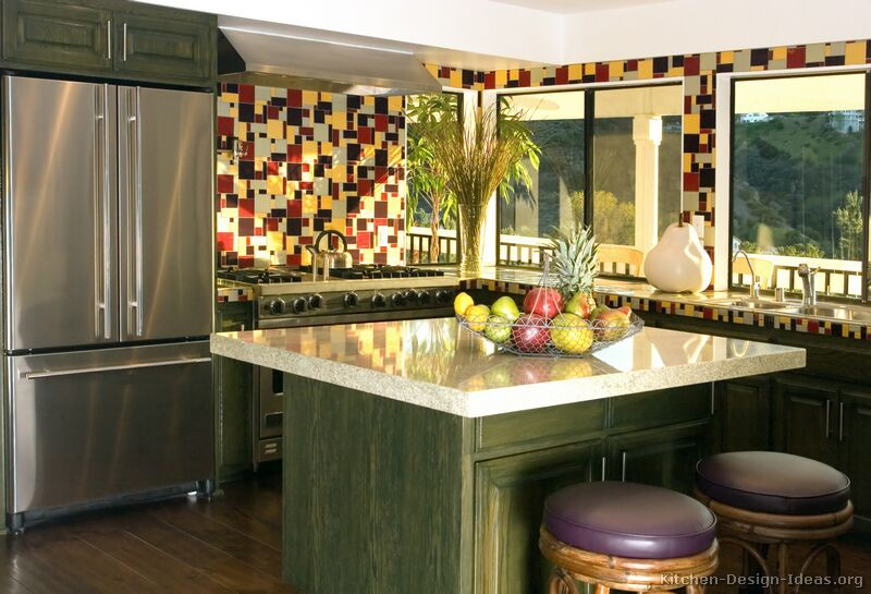 Pictures of kitchens traditional green kitchen cabinets for Modern mexican kitchen design