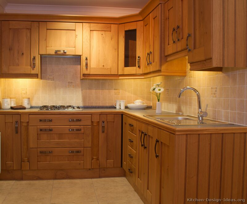 Pictures of kitchens traditional light wood kitchen for Inexpensive wood kitchen cabinets