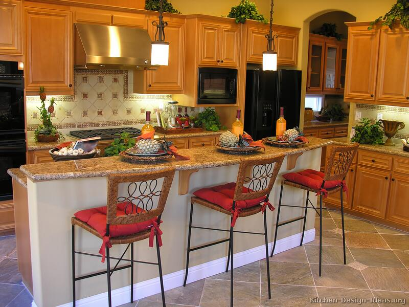 Pictures of kitchens traditional light wood kitchen Breakfast bar lighting ideas