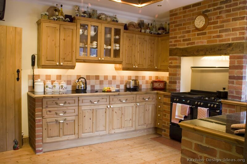 kitchen cabinets traditional light wood 015 s2532028 rustic knotty wood brick hood mantel 8 Pictures for Rustic Kitchen best design 2013