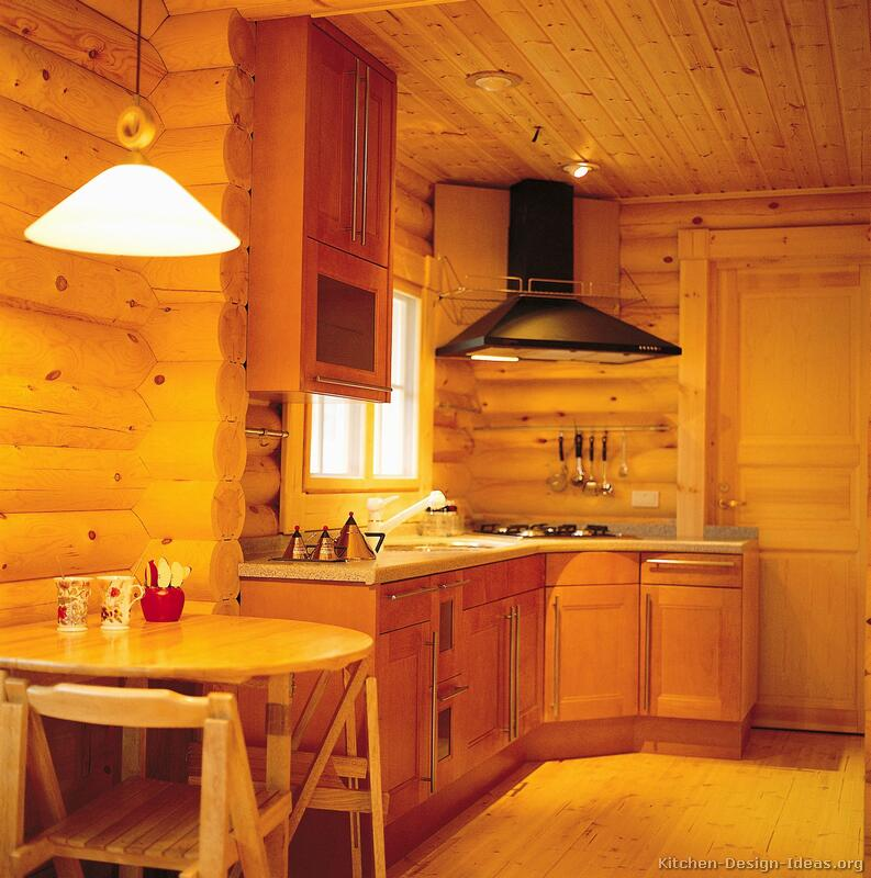 Log home kitchens pictures design ideas for Small cabin kitchen designs