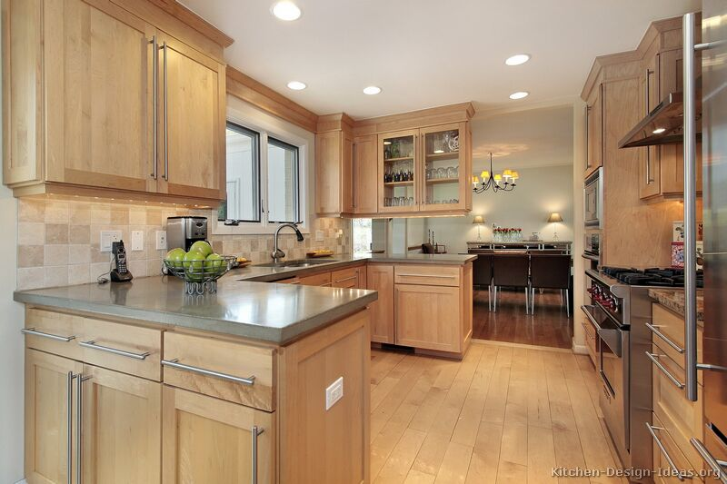 Pictures of kitchens traditional light wood kitchen for Kitchen cabinet wood colors