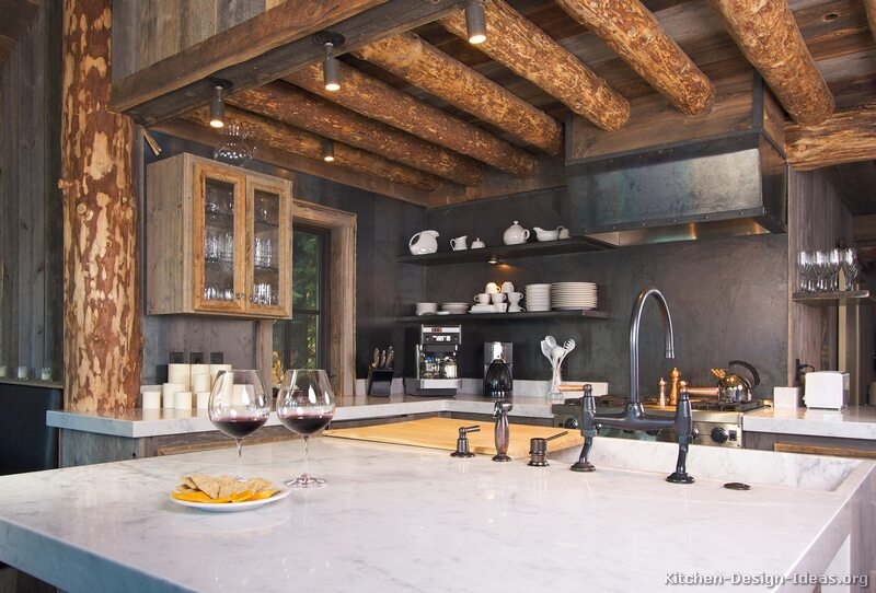 Contemporary kitchen lighting fixture in a rustic kitchen.
