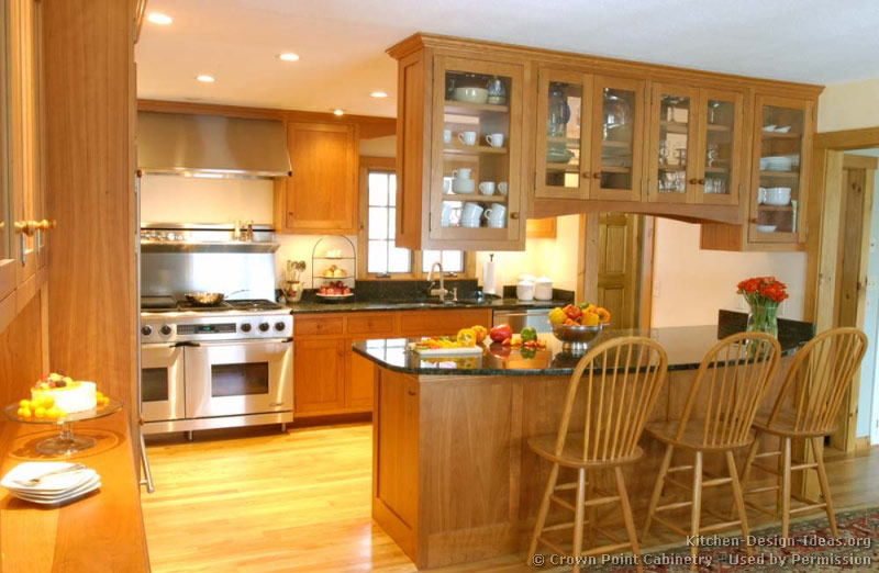 Cherry Cabinet Kitchen Designs kitchen wood cabinets and paint color ideas kitchens traditional medium Shaker Kitchen Cabinets