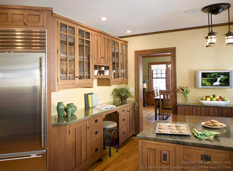 Craftsman kitchen design ideas and photo gallery for Built in kitchen cabinets