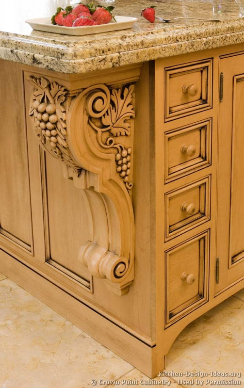 Pictures of kitchens traditional light wood kitchen for Carved kitchen cabinets