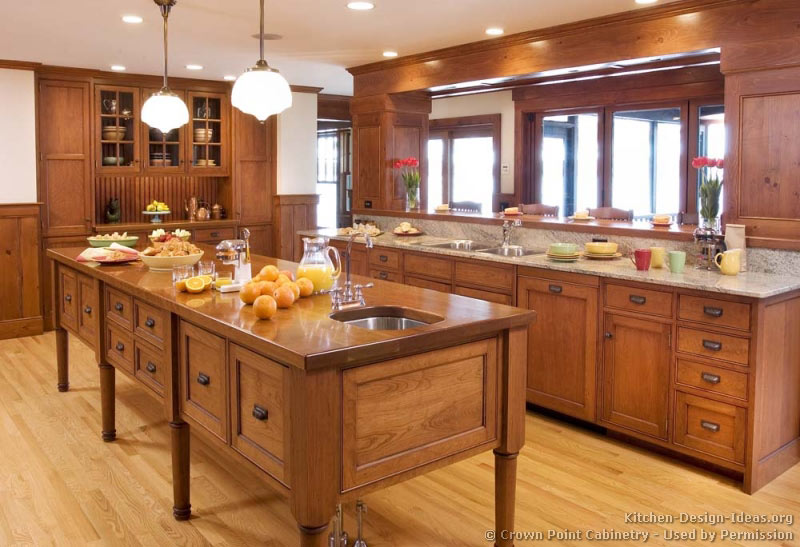 This Shaker Kitchen In Cherry Wood Features A Furniture Style Island