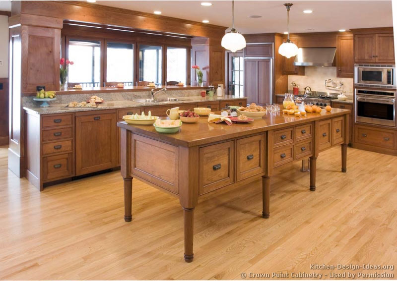 Pictures of kitchens traditional light wood kitchen for Floor kitchen cabinets